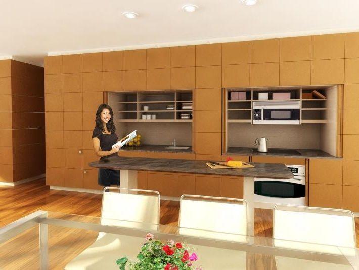 Stealth Kitchen. hiden kitchen