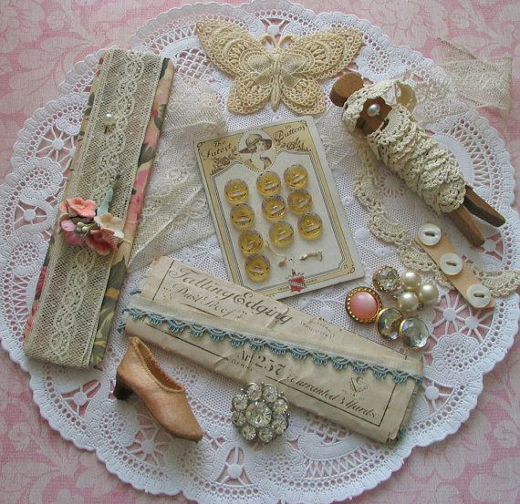 Tattered Treasure Vintage Sewing Notions Buttons Trims Embellishments