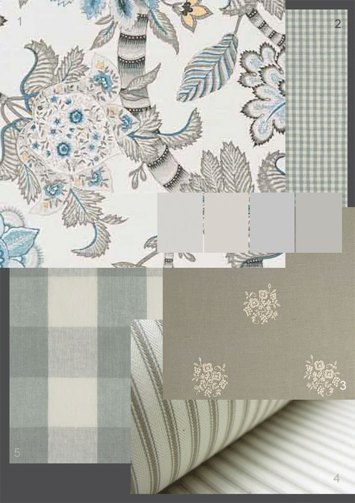 FABRICS: 1.Bennison'Banyan' 100% linen colour shown: charcoal blue on oyster 2.Clarke and Clarke'Cove Check'100% linen -colour shown:Mineral 3.Chelsea Textiles'Posies' 100% linen colour shown: white on cloud 4.Tinsmiths'Ticking' 100% cotton colour shown: flax 5.Clarke and Clarke'Clifford Check'100% linen -colour shown:Mineral  Love the Clifford check pale grey upholstery