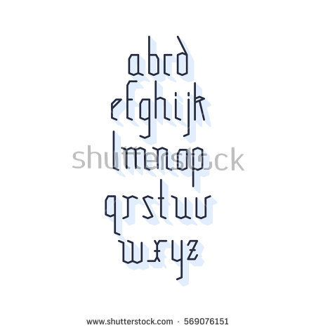 Vector linear font - simple stylized alphabet in mono line style. Old style ancient Gothic Font. Vector light alphabet set. Minimal. Latin alphabet letters.