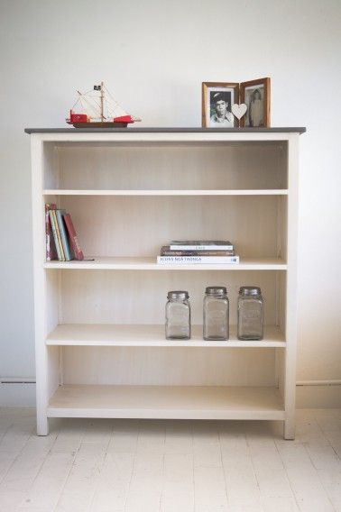 Shaker style book case made from pine with a hand painted finish