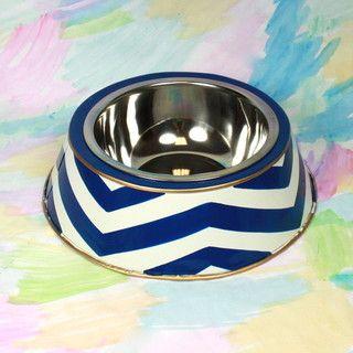 Navy Chevron Dog Bowl - contemporary - pet accessories - by Furbish