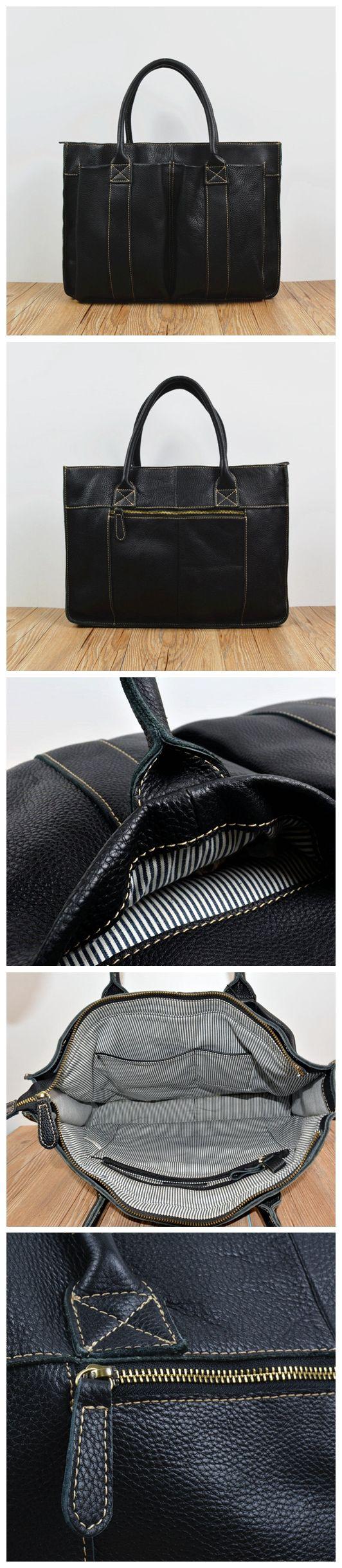 ROCKCOW Men's Leather Durable Briefcase, Laptop Bag