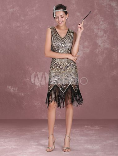 adad659c5c Great Gatsby Flapper Dress 1920s Vintage Costume Women s Apricot Sequined  Tassels Dress Halloween en 2019