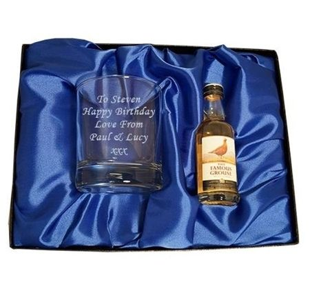 This is a fun personalised gift to give to dads on father's day, for a birthday, a celebration, for the best man, retirement, Christmas - the list is endless for this great set. The gift set has a miniature bottle of Grouse Whisky, Baileys or Jack Daniels and an engraved tumbler. To make your gift even more special it will come in a satin lined presentation box. A great gift for all occasions.  Have your tumbler engraved with up to 6 lines each line can have up to 20 characters.  approx s...