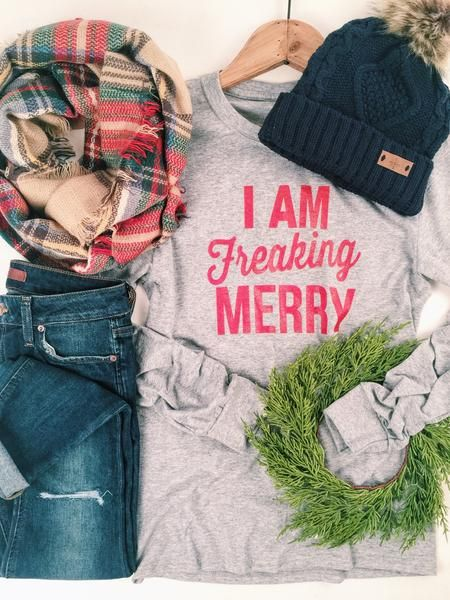 Festive and funny. Cute holiday style I'm Freaking Merry Long Sleeve Tee.