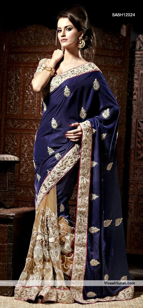 Navy Blue And Cream Color  Velvet Fabric Saree