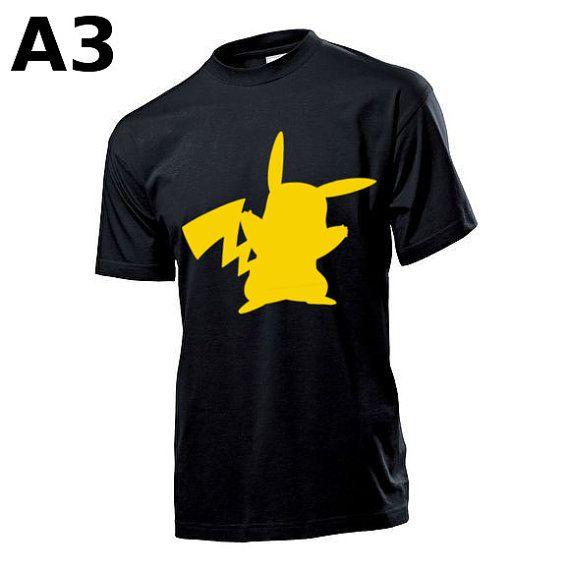"""T-shirt Jaune pour Homme (différentes tailles disponibles), logo """"Pikachu"""" - Format d'impression au choix: A3 ou A4"""