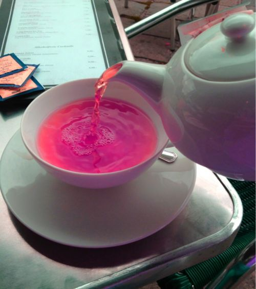 • pink tea • - no recipe, but David's Tea offers a tea that comes out this shade.
