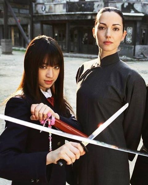 Chiaki Kuriyama as Gogo Yubari and Julie Dreyfus as Sofie Fatale in Kill Bill Vol. 1