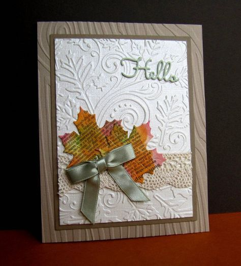 """This was fun! Love the """"printed word"""" used on cards. I cut a dictionary page, sponged (red, org, yell, grn) distress inks, then die cut the leaves. Cut vanilla, two shades of brown, embossed then assembled. EF's: Darice Fall Leaf and Wood Grain. Dies: IO Leaves & Greetings Set, SB Rectangle."""