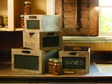 chalkboard paint on wooden boxes