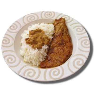 Escalope de veau sauce 'sahara' et son riz camarguais