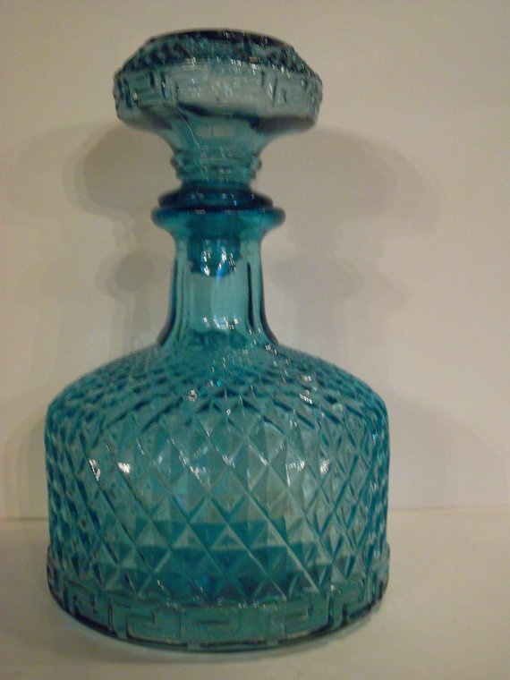 Turquoise Glass Decanter by AtharvasCollection on Etsy, $24.99