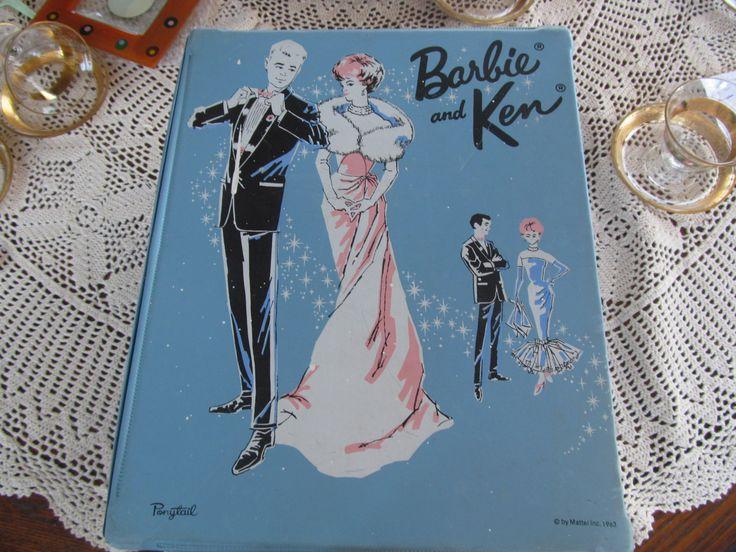 1963 PONYTAIL Barbie and Ken Carrying Case Barbie Wardrobe Trunk. $55.00, via Etsy.