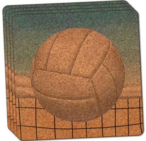 Custom  Cool 4 Inches Set Pack of 4 Square Grip Texture Drink Cup Coaster Made of Cork w Cork Bottom  Sports Edition Sporty Volleyball Net Beach Scene Design Blue White Brown  Black >>> Continue to the product at the image link.