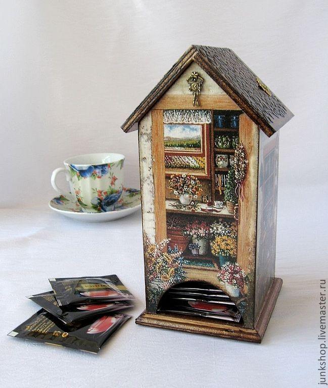 """Купить Чайный домик """"Дачный"""" - бежевый, чайный домик, чайный домик декупаж, для кухни, чай"""