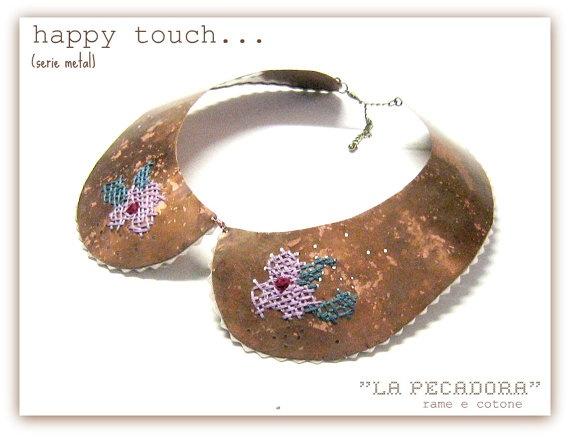copper and satin NECKPIECE La pecadora A limited by JudithSara, €30.00