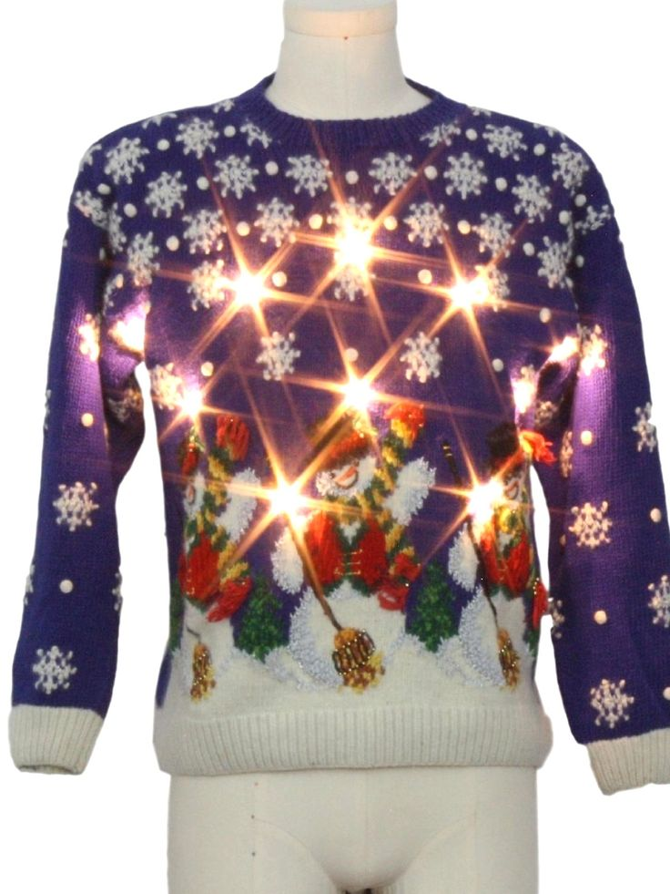 Vintage 90s Vintage Lightup Ugly Christmas Sweater: 90s authentic vintage -Marissa Christina Classics- Unisex blue background cotton ramie blend pullover longsleeve Ugly Christmas White Flashing Lightup (10 super bright removable WHITE Flashing or Solid lit dual mode LED lights powered by included L4 watch Batteries) Sweater with round neckline. Featuring snowflakes falling all over three jolly beaded hat and scarf wearing snowmen who are holding their brooms on the lower front hem. Plain…
