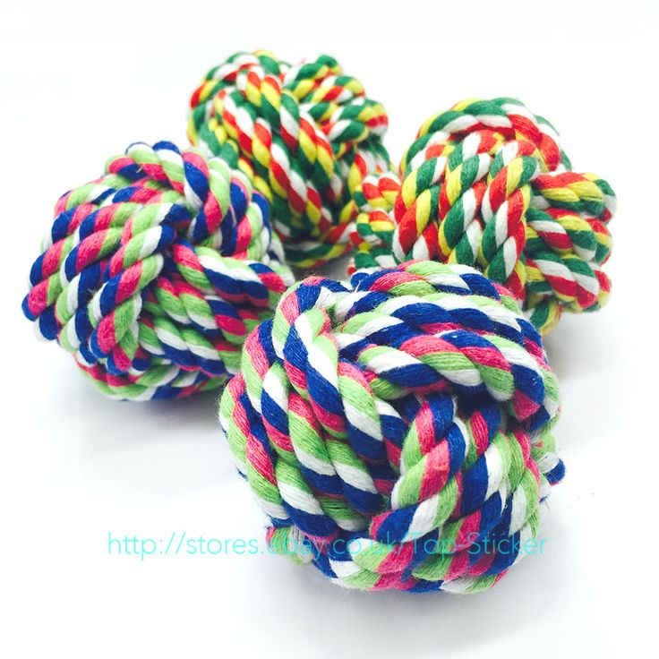 awesome Pet Cotton Braided Bone Rope Ball Knot Dental Chew Puppy Dog Toy Teeth Clean UK