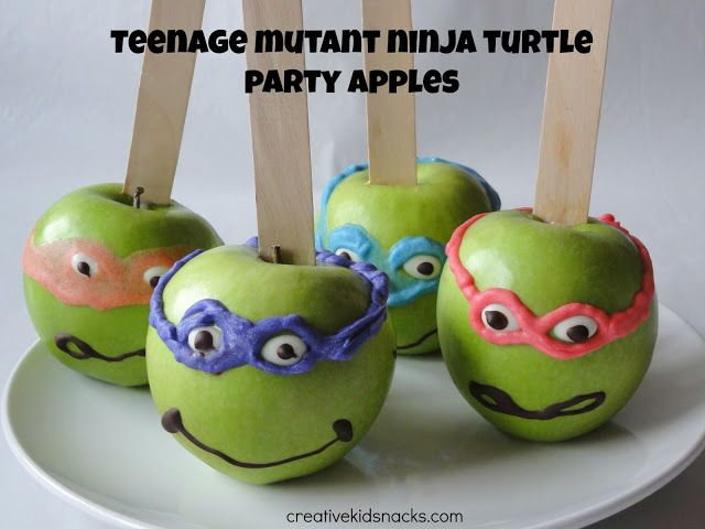 Teenage Mutant Ninja Turtle Apples for kids birthday parties