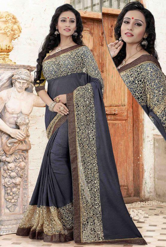 Scenic Slate Black Saree