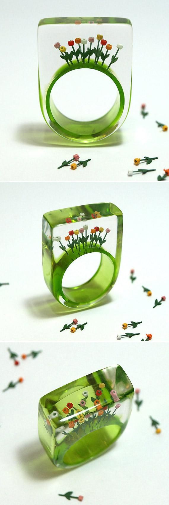 GeschmeideUnterTeck's resin ring lets you wear a garden of ten tiny tulips on your finger via etsy.