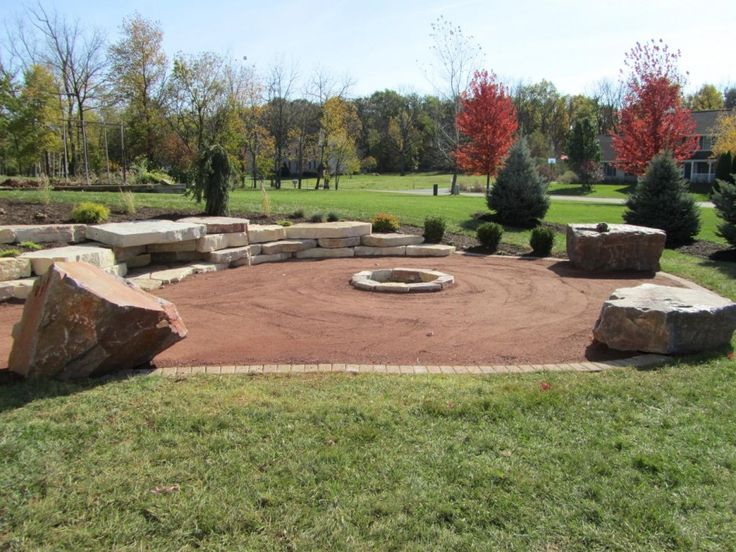 Remarkable Crushed Granite Landscaping Come With Brown Decomposed Crushed Granite Circular Patio With Stone Edging And Green Grass Plus Green Trees Plus Brown Leaves Trees