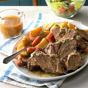 Slow Cooker Faux Prime Rib Roast Recipe -This is my first original recipe, inspired by a great holiday dinner with friends. I wanted to see if I could do something similar with a less expensive cut of meat. The Faux Prime Rib Roast can also be baked in a covered Dutch oven at 350° for about 1-1/2 hours or until 165°. The beef is also delicious served with regular or horseradish mashed potatoes. —Kimberly Kuhlman, Bryan, Texas