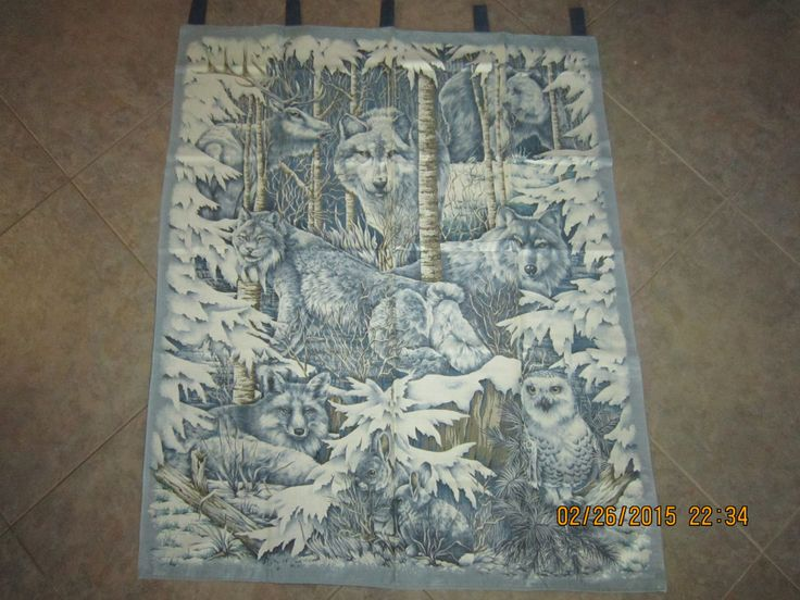 """Mid Winters Dream (elk, wolf, bear, fox, owl, leopard) Wall Hanging 35"""" x 44"""" (backed in bue grey cotton fabric) Clearance SALE 25% Off* by ShawnasSpecialties on Etsy"""