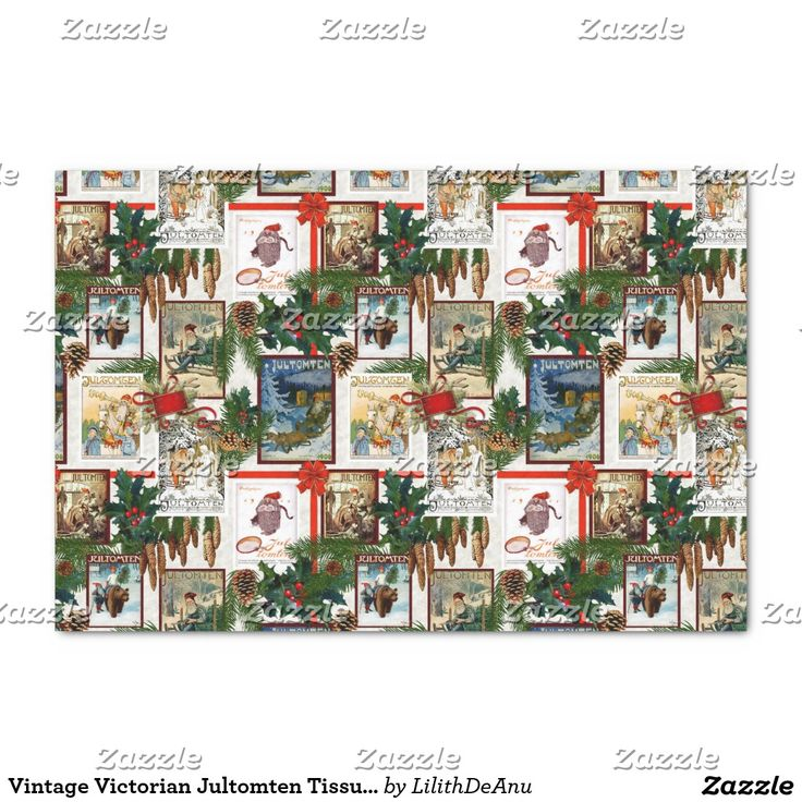"""Vintage Victorian Jultomten Tissue Paper 10"""" X 15"""" Tissue Paper"""