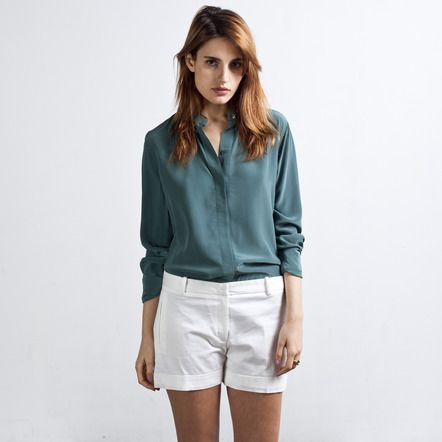 Everlane - Silk Blouse - Band Collar $80  So nice! Too bad it's dry clean only...