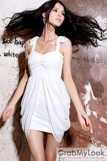GrabMyLook  Bow Shoulders Draped Strapes Sleevesless Skirt Dress