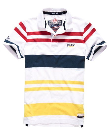 Superdry College Stripe Polo Shirt White