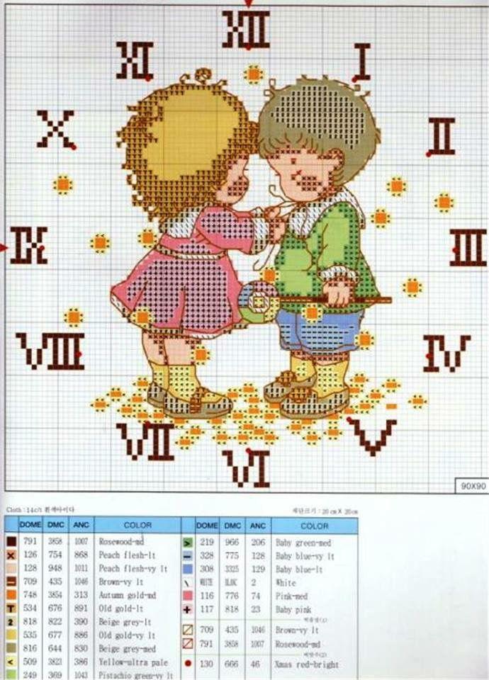 clock cross stitch