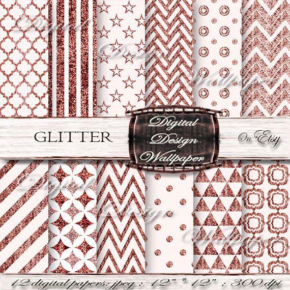Glitter Digital Paper PackRed Glitter by DigitalDesignPaper