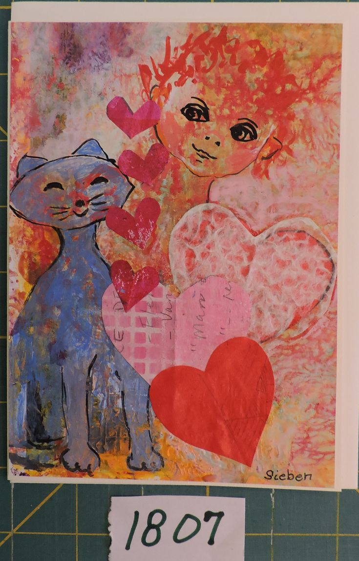 Valentine Day is coming fast so I decided to make a few cards.  This one is drawing with acrylics and some collage hearts.