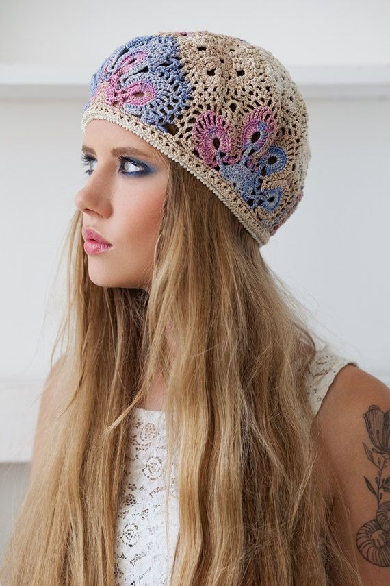 Crochet summer womens hat beret. This hat will fit the average Teen or Woman. Hat is made of multicolor cotton.  Please allow up to 5 working