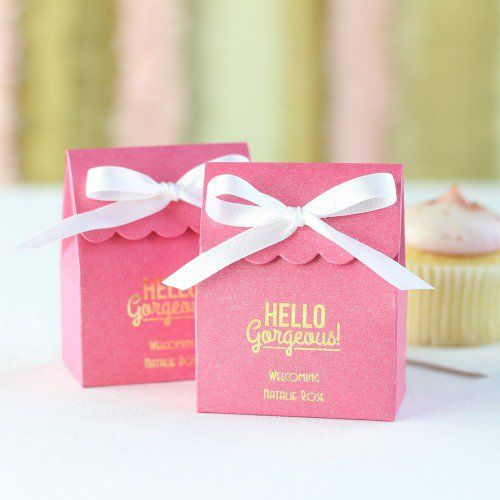 Personalized Scalloped Baby Shower Favor Bag