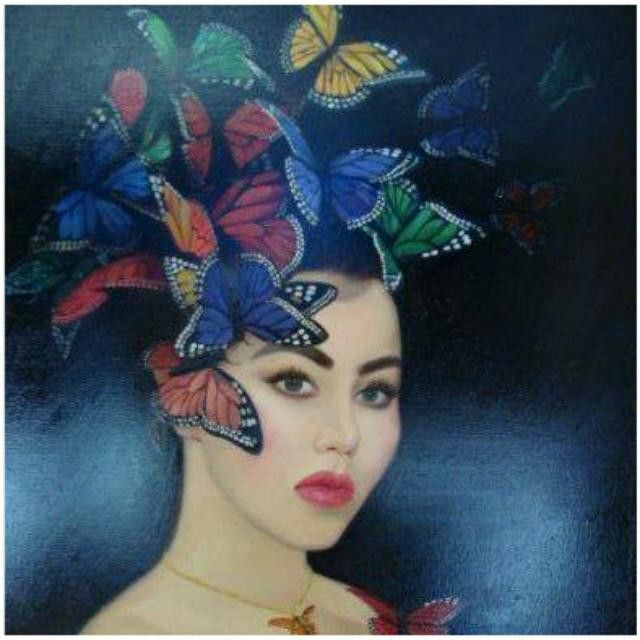The next work I am sharing with you is called #butterflies.  This work is one of my #favorites, maybe because it is one of my few #selfportraits. It is still #available.  As always you can #purchase the #original a #print or as a #handembellishedprint.  Please #contact us for more information regarding this it any other work you may like.  Don't forget to #follow us @ @nadia_art_gallery.