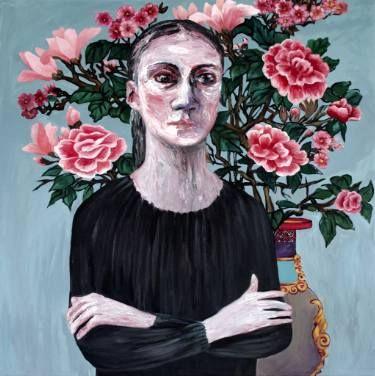 "Saatchi Art Artist Oksana Reznik; Painting, ""Peony`s Girl"" #art"