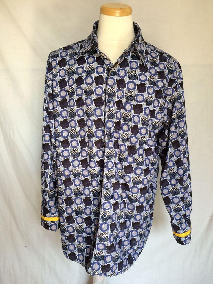 Robert Graham Mens Shirt XL Paisley Circles Squares Long Sleeves  #RobertGraham #ButtonFront
