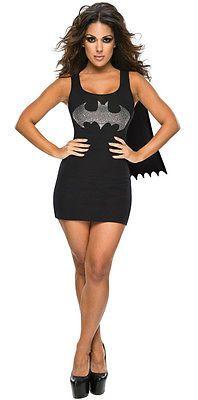 Womens Batgirl Tank Dress & Cape Bat Girl Superhero Fancy Dress Costume Adult