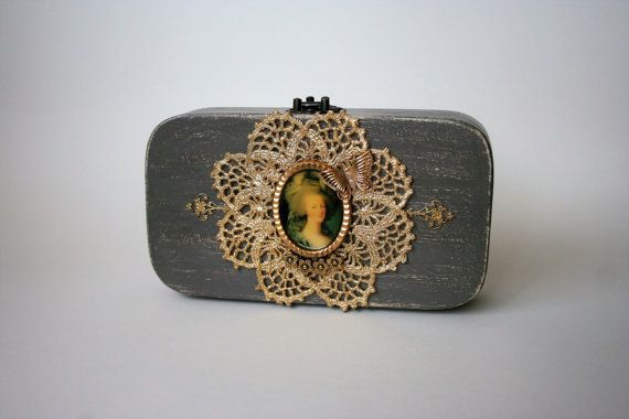 Small wood purse decorated with vintage lace and a by ucrina