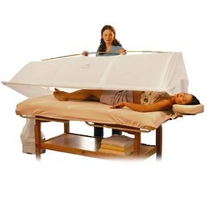 """Steamy Wonder Spa System at Just $1,665.00.The original, patented Steamy Wonder system with choice of canopy colors, steam generator, circulating fan, 2 fitted Velcro sheets, thermal blanket, digital thermometer/ clock, Treatment Manual, Users Manual, sample products. It is Specifications Dimensions:30""""W x 87"""" L x 23"""" H, Warranty: 1 Year ,Electrical:110V AC."""