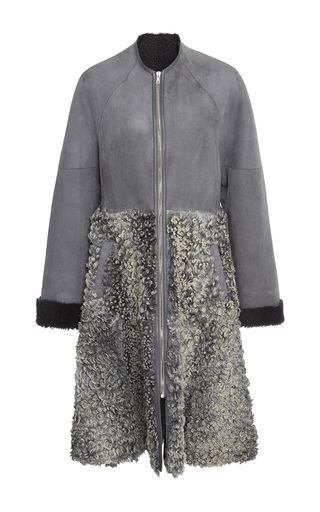 This **ADEAM** coat features a collarless neckline and an a-line shape.