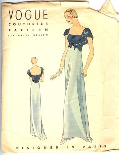 Vogue 211 Couturier pattern - early to mid 1930's