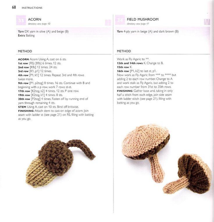 Acorn and Field Mushroom ~ Free Knitting Pattern