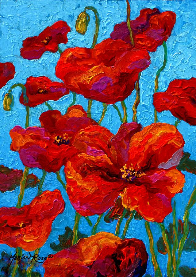 Spring poppies print by marion rose for Fine art paintings for sale online