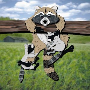 """Layered Raccoon DIY Woodcraft Pattern #2044 - Hang this adorable family on your deck railing or fence and watch the reactions from passerby's. 24""""H x 18""""W. Pattern by Sherwood Creations #woodworking #woodcrafts #pattern #yardart #craft #3D #raccoon"""